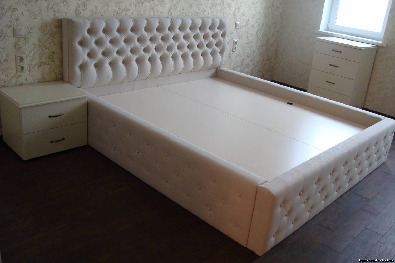 Кровать своими руками отделка кожа
